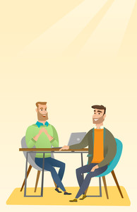 Human resource manager talking with job applicant. Job applicant during job interview for the position. Job interview concept. Vector flat design illustration. Vertical layout.