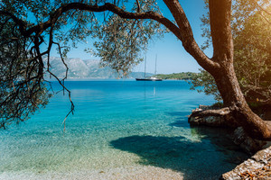 Idyllic tranquil turquoise bay view framed with old olive tree. Luxury yacht in the distance. Summer beach vacation relaxation concept
