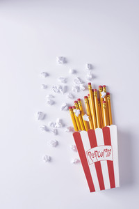 Imitation of French fries and popcorn
