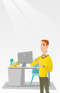Irritated caucasian employer pointing at wrist watch. Employer checking time of coming of latecomer employee. Concept of late to work and deadline. Vector flat design illustration. Vertical layout.