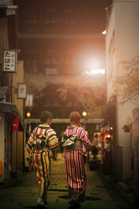 japanese woman wearing tradition kimono clothes walking in yasaka shrine street kyoto japan