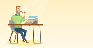 Journalist writing an article on a vintage typewriter. Journalist working on a retro typewriter. Journalist smoking a pipe during writing an article. Vector flat design illustration. Horizontal layout