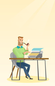 Journalist writing an article on a vintage typewriter. Journalist working on a retro typewriter. Journalist smoking a pipe during writing an article. Vector flat design illustration. Vertical layout.