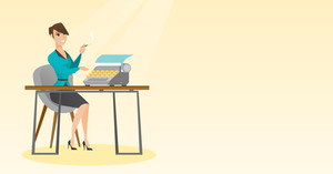Journalist writing an article on a vintage typewriter. Journalist working on a typewriter. Journalist smoking a cigarette during writing an article. Vector flat design illustration. Horizontal layout.