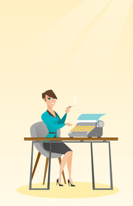 Journalist writing an article on a vintage typewriter. Journalist working on a typewriter. Journalist smoking a cigarette during writing an article. Vector flat design illustration. Vertical layout.
