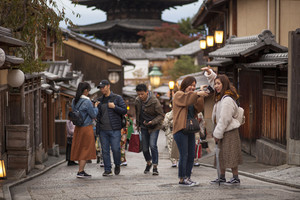 kyoto japan - november10,2018 : asian tourist attraction to yasaka shrine street in kyoto, yasaka shrine is one of most popular traveling destination in kyoto japan