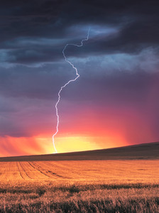 Lightning hits a rural field at sunset