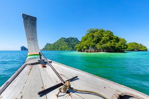Longtail Boat In Sea During Summer At Aonang Beach