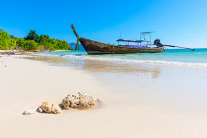Longtail Boat Moored At Aonang Beach