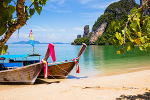 Longtail Boats Moored At Aonang Beach in Thailand