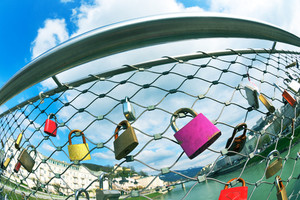 love locks in romantic city of verona in italy