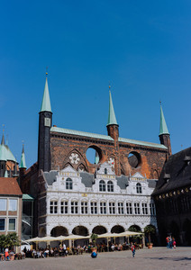LUEBECK, GERMANY - APRIL 29, 2018: Luebeck Rathaus - the oldest city hall europe. Luebeck, Germany