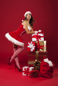 Luxurious christmas with sexy woman