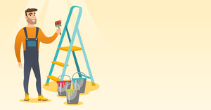 Male house painter holding a paintbrush. House painter with paintbrush in hand standing near step-ladder and paint cans. Concept of house renovation. Vector flat design illustration. Horizontal layout