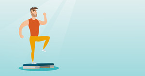 Man doing step exercises. Caucasian man training with stepper in the gym. Man working out with stepper in the gym. Sportsman standing on stepper. Vector flat design illustration. Horizontal layout.