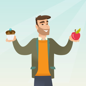 Man holding an apple and a cupcake in hands. Man choosing between an apple and a cupcake. Concept of choice between healthy and unhealthy nutrition. Vector flat design illustration. Square layout.