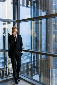 Man in elegant suit speaking on the phone against window