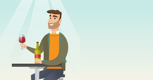 Man sitting at the table with a glass and a bottle of wine. Caucasian man drinking wine in the restaurant. Man enjoying a drink at the wine bar. Vector flat design illustration. Horizontal layout.