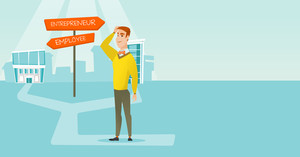 Man standing at road sign with two career pathways - entrepreneur and employee. Man choosing career way. Man making a decision of career. Vector flat design illustration. Horizontal layout.