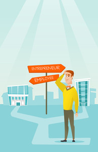 Man standing at road sign with two career pathways - entrepreneur and employee. Man choosing career way. Man making a decision of career. Vector flat design illustration. Vertical layout.