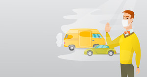 Man standing on the background of car with traffic fumes. Man wearing mask to reduce the effect of traffic pollution. Concept of toxic air pollution. Vector flat design illustration. Horizontal layout