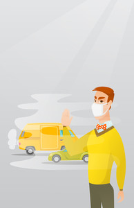 Man standing on the background of car with traffic fumes. Man wearing mask to reduce the effect of traffic pollution. Concept of toxic air pollution. Vector flat design illustration. Vertical layout.