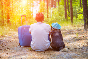 Man traveler sitting with a dog and travel bag on a dirt road in the pine forest in summer back to the camera. The dog wearing the sun hat. Man thinks about his journey