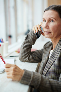 Mature businesswoman speaking on telephone with client