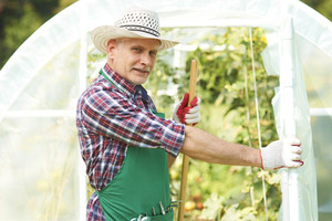 Mature man in front of greenhouse