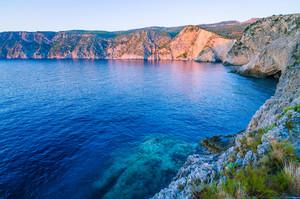 Mediterranean bay at sunset light in Assos, Kefalonia, Greece
