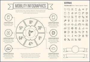 Mobility infographic template and elements. The template includes the following set of icons - rocket, cloud, smartphone, microphone, thumbs-up, thumb mark, wristwatch and more. Modern minimalistic flat thin line vector design.