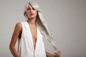 model pull her hair holding in hand