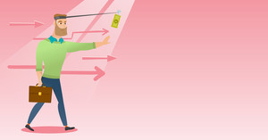 Money on fishing rod as motivation for businessman. Caucasian businessman motivated by money hanging on fishing rod. Concept of business motivation. Vector flat design illustration. Horizontal layout.