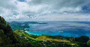 Morne Blanc viewpoint. Beautiful scenery of island coastline Nature trail Mahe Island Seychelles