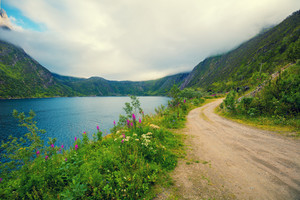 Mountain road along the fjord. Nature Norway