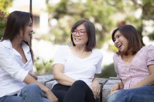 multi aged of asian woman relaxing talking with happiness emotion