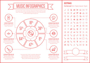 Music infographic template and elements. The template includes the following set of icons - orgami, gramopnone, digital equalizer, ukelele, saxophone, tmpani and more. Modern minimalistic flat thin line vector design.