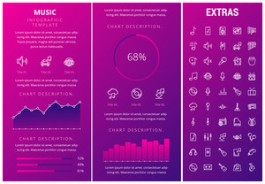 Music infographic template, elements and icons. Infograph includes customizable graphs, charts, line icon set with musical instruments, music notes, microphone, smartphone with mobile application etc.
