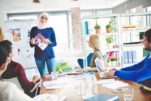 Muslim business woman having presentation