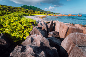 Natural tropical and isolated beach with big granite rocks, lush foliage on a sunny day, Grand L Anse, La Digue, Seychelles