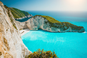 Navagio beach or Shipwreck bay panoramic. Turquoise sea water and white beach between huge cliffs. Famous landmark location on Zakynthos island, Greece