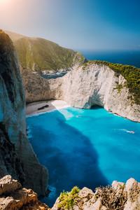 Navagio beach Shipwreck bay Zante from view point. Zakynthos Greece