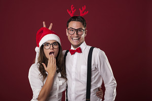 Nerd couple have fun in christmas time
