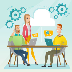 Office workers gathered together at a table in office. Office worker working on a laptop. Office worker talking on mobile phone. Office life concept. Vector flat design illustration. Square layout.