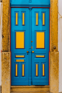 Old tradition colorful door of the house in Lissabon, Lisboa Portugal