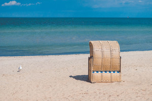 One roofed chair on empty sandy beach in Travemunde. One lonely seagull beside. Germany