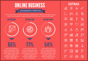 Online business infographic template, elements and icons. Infograph includes customizable graphs, three options, line icon set with stack of money, online market, business worker, mobile shop etc.