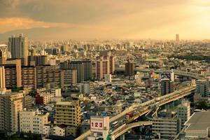 osaka japan - november 7, 2018 : high angle view express way and township of osaka city japan