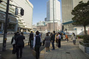 osaka japan - november11,2018 : unidentified people waiting for crossing road in osaka city ,osaka is most important city in middle south of japan