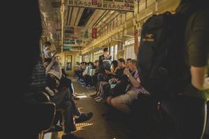 osaka japan - november5,2018 : unidentified japanese people boarding on hunkyu mino line local trains to mino station osaka japan